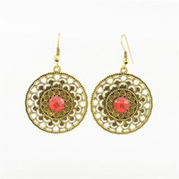antique ruby earrings - Luxury Big Circle Earrings Jewelry Antique Gold Silver Plated Hollow Flower Ruby Pierced Earring Accessorie For Wedding Bride