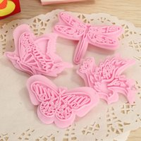 Wholesale 4Pcs Lovely Butterfly Bird Cake Decoration Home Paste Sugarcraft Mold DIY Fondant Cake Cutter Kitchen Tools