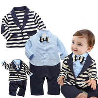 bebe clothing - new autumn Baby suit Gentleman Boys Clothing Set Striped Coat Baby Romper With Bowtie Popular style bebe clothes