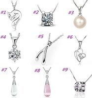 Wholesale New sterling silver necklace pendant fox pearl love with crystal pendants excluding chain High quality