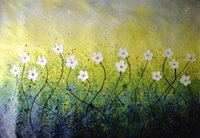 Cheap Hand-painted modern home decor room hall wall art picture white flower thick colors palette knife oil painting on canvas,JL-310