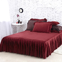 skirting direct - Factory Direct Sale Bedding Set New Fire Brick Velvet Bed Skirt High Quality Winter Warm Bedspreads Twin Full Queen Size Fitted Sheet