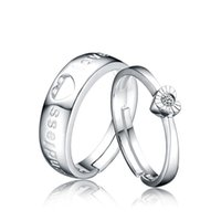 Wholesale 2015 Jewelry Three stone Wedding Ring Set Engagement Couple Rings Soulmate Opening Couple Silver Rings Women s Three stone Wedding Ring Set