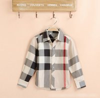 bur - Bur Spring Boys Shirts Turn down Collar Plaid Grid Long Sleeve Shirt Sark Cotton Shirt Kids Tops England Children Clothing Beige K3523