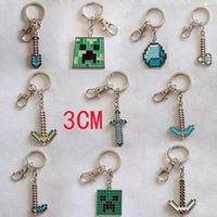 Wholesale Minecraft key chain cartoon explosion models selling game q version drip Color My World Keychain CM
