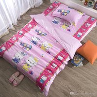 Wholesale twin size bedding set for kids pure cotton fabric pink hello kitty printed bed sheet sets