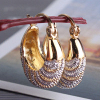 Wholesale Vogue Earrings Woman k Gold Platinum Plated Fashion Chic Snap Closure Hoop Earring Jewelry Ladies E421c