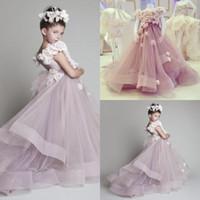 Wholesale 2015 Little Girls Party Pageant Dresses Krikor Jabotian Handmade Flowers Long Train Tulle Kids Formal Prom Dresses Dhyz