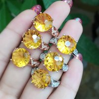 Cheap Super hot fireworks fireworks citrine 925 silver inlay craft rings XL00149