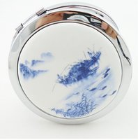 metal compact mirror - Good looking Chinese art mirror ceramic and metal compact portable cosmetic mirror makeup mirror