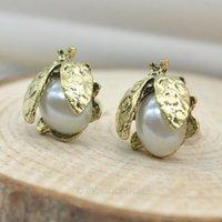 beatles bugs - CZ Stones Pearl Ladybird Ear Stud Little Beatles Earrings Women Girls Fashion Lady Bug Earring PMHM224