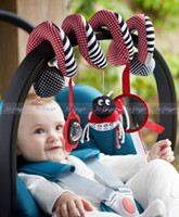baby crib mirror - Mobile Toy in Cot Set of Zoo Cartoon Plush Rattles Mobile Baby Bed Music Bell Christmas Crib Safety Mirror