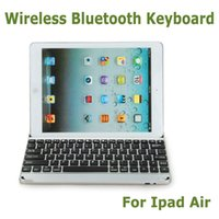 Wholesale Easy Carried Ultrathin Aluminum Wireless Bluetooth Keyboard Rechargeable Battery Dock Display Stand Case for iPad Air