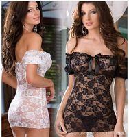 Wholesale Hot Women Off Shoulder Lace Floral Sexy Lingerie Underwear Plus size Babydoll Dress Black White Nightwear M144
