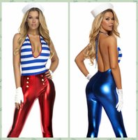 Wholesale Blue Red Shiny Metallic PVC Leather Catsuit Costume Women Sexy Navy Marine Sailor Costume Zentai Bodysuit Jumpsuit Costume E8938