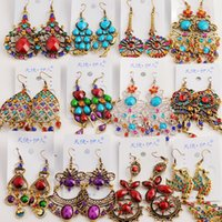 Wholesale 50Pairs mixed Vintage Tibetan Silver Bronze Resin Fashion Earrings earrings New fashion jewelry