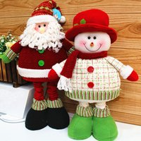 Wholesale 2014 Enfeites De Natal Lovely Christmas Decoration Supplies Red And Green Santa Claus Snowman Flexible Legs Ornament Gift SHB224