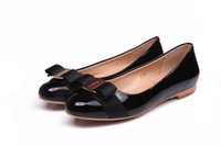 Women ladies shoes size - 2016 New Big Size Women Flats Brand Genuine Leather Ballet Shoes Woman Bow Tie Designer Flats Ladies Zapatos Mujer Sapato Feminino DA002
