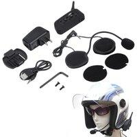 Wholesale 2016 New V6 Helmet Intercom Riders M Motorcycle Bluetooth Intercom Headset walkie talkie Helmet BT Interphone US plug