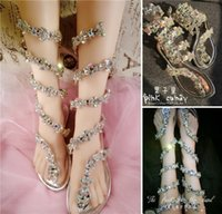 Cheap Summer Gladiator Flat Wedding Sandals Shoes for Girls with Lace Up Sparkly Rhinestone Crystal Bridesmaid Bridal Party Dress Shoes Bling