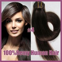 Wholesale quot Brazilian remy Hair straight clip in hair remy human hair extensions light brown g set