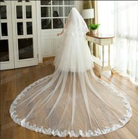 best muslims - Best Selling Luxury Real Image Wedding Veils Two Layers Lace Edge Cathedral Train Bridal Veil Bride Accessory In Stock QM