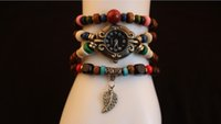 acrylic leaf beads - Leaf Pendant Watches Ethnic Style Multilayer String Wooden Beads Bracelet watch Quartz Watches for Women Students wristwatch