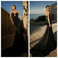 Trumpet/Mermaid Reference Images 2015 Spring Summer 2015 Prom Dresses Spaghetti Strap Sweetheart Black Backless Party Dresses Sweep Train Zipper Lace Evening Dresses Elie Saab Prom Dresses
