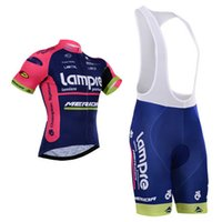 Wholesale 2015 Newest Pro Team Lampre Merida Cycling Clothing Men Women Short Sleeve Cycling Jersey Cycling Shorts Bib