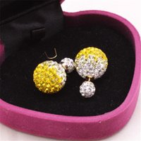 Wholesale Shamballa earrings stud earrings double sided gradient color women brand earring candy color available