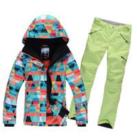 Wholesale New Fashion Colorful Lady Women Ski Suit Windproof Waterproof High Quality Ski Jacket Pants Snowboard Breathable Ski Set