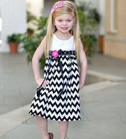 chevron clothing - New Europe Fashion Girls Dress Lace Bow Chevron Stripe Girl Dress Sleeveless Cotton Flower Waistband Kids Clothes casual Dresses A2700