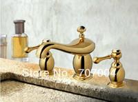 Wholesale bathroom golden plated basin sink faucet mixer tap crane dual handles elegant