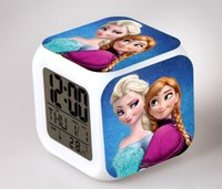 Wholesale DHL Frozen Alarm Clocks LED Change Digital Alarm Clock frozen Anna and Elsa Thermometer Night Colorful Glowing toys
