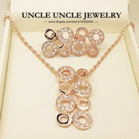 Wholesale Beautiful K Rose Gold Plated Classic Circles Element Rhinestones Setting Lady Jewelry Set Earrings Necklace KRGP