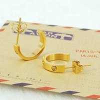 Wholesale Hot fashion women classic silver yellow rose gold L stainless steel screw stone half circle love stud earrings jewelry SE0104