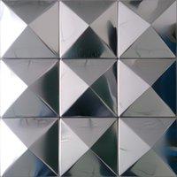 Cheap Home tiles stainless steel silver pyramid mosaics art kitchen backsplash tile home walls decor metal hotel bar tile designs 11SF