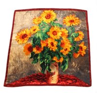 Wholesale Van gogh sunflowers in Europe and the big oil painting satin large squares Female scarf scarves shawls cm yellow
