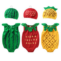 baby fruit hats - 2015 summer baby one piece Romper cute fruit modelling pure cotton toddler costume with hat newborn baby clothes set ab872