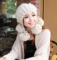 Wholesale Christmas Gift Lovely Wild female Korean winter day hat fashion cap pompon genuine wool knitted earflap hat of women colors