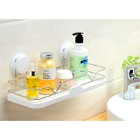 Wholesale Suction Bathroom Shelf Modern Style Plastic Stainless Steel Bathroom Wall Hanger Bathroom Accessories