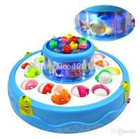 Wholesale Go Go Fishing Game Music Lights Fish Rotary Fishing Pond Battery Operated Baby Kids Family Games