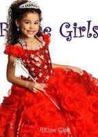 Reference Images Girl Beads New Design Red Glitz Little Girls Pageant Dresses Floor Length Halter Sequins Crystal Rhinestone Ball Gowns Custom Made Flower Girls Dresses