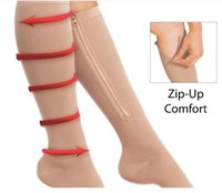 Wholesale Hot Sales Zipper Compression Socks Knee High Socks Ultrathin Breathable Open Toe Compression Stockings Woman Socks Pairs