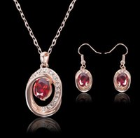 Wholesale 2015 new European and American fashion banquet K gold ruby diamond necklace bridal jewelry crystal earrings Sets
