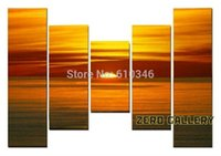 Cheap Handicraft retail modern sunrise sunset Landscape seascape oil painting pictures on the wall 5 piece panel canvas art set 50141
