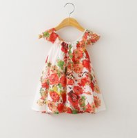 american clothing - Bohemian Kids Dress Girl Cotton Solid Dot Floral Dresses Summer Children s European American Style Beach Girls Clothing Red Green N0025