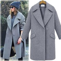 Wholesale 2016 winter new fashion long section woolen coat lapel Women s loose long sleeved thick woolen winter coat wool coat