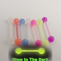 Wholesale New mm low in the dark flexible acrylic piercing barbell tongue ring