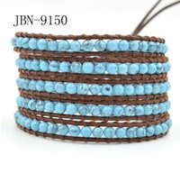 Wholesale 2016 multilayer Leather cuff bracelet bangle charm jewelry gift natural Sky Blue turquoise beaded Pulseira masculine bracelets JBN